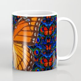 ORANGE BUTTERFLIES  & DARK BLUE ART PATTERN Coffee Mug