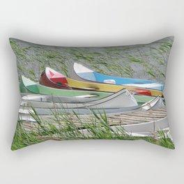 Colorful Canoes Rectangular Pillow