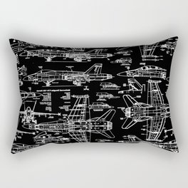 F-18 Blueprints // Black Rectangular Pillow