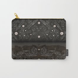 Silver ornament, pearls and grunge texture background Carry-All Pouch