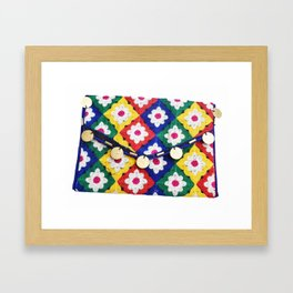 Indian Bohemian Clutch Bag in Floral Embroidery Framed Art Print