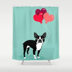 Boston Terrier Valentine heart balloons for pet owners and dog lovers gift for someone they love Shower Curtain