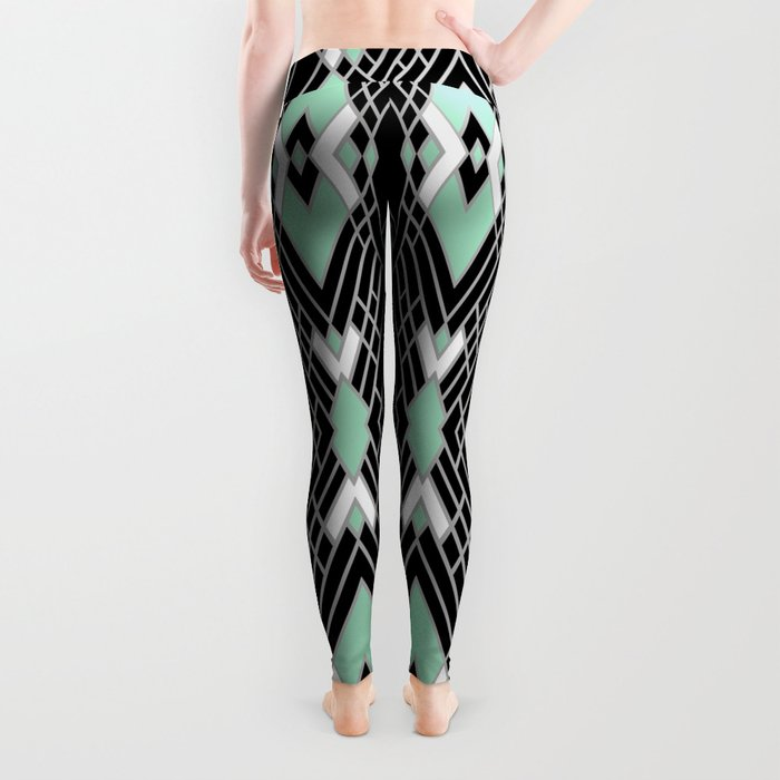 Art Deco Zoom Mint Leggings