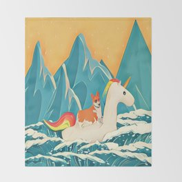 Corgi and the rainbow unicorn Throw Blanket