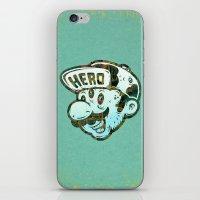 super hero iPhone & iPod Skins featuring Hero by Beery Method