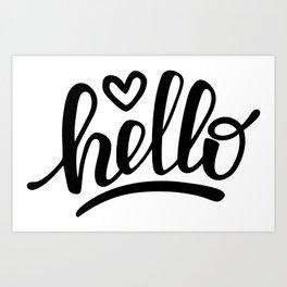 Hello brush lettering Art Print