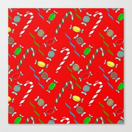 Candy Canes in Red Canvas Print