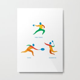 Table Tennis Badminton Icon Metal Print