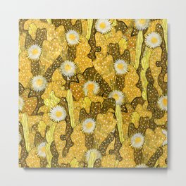 Cacti Camouflage, Floral Pattern, Golden Husk Metal Print