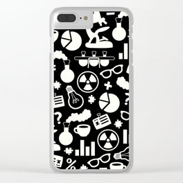 Black and White Science Pattern Clear iPhone Case