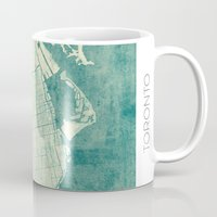 toronto Mugs featuring Toronto Map Blue Vintage by City Art Posters