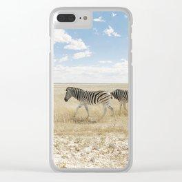 Zebra on African Savannah Clear iPhone Case