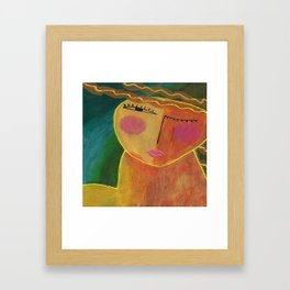 Abstract Acrylic Portrait of a Woman Framed Art Print
