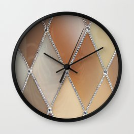 Rhombus patterns and rhinestones Wall Clock