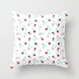Watercolor Clover Flowers Pattern Throw Pillow