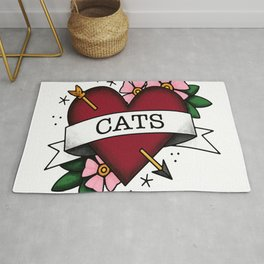 I Love Cats and Tattoos Sailor Jerry Style Tattoo Heart Rug
