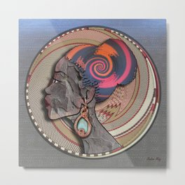 African woman profile on a woven basket Metal Print