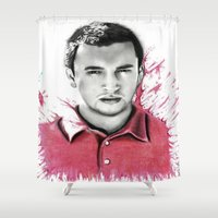 tyler spangler Shower Curtains featuring Tyler Joseph by Alycia Plank