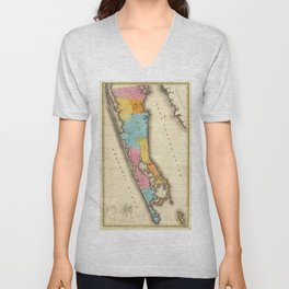 Vintage Map of Suffolk New York (1829) Unisex V-Neck