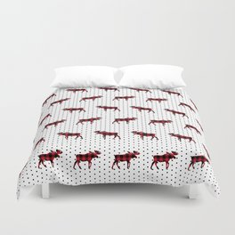 Moose Buffalo Plaid dots cute outdoors camping cabin chalet skiing northwest forest Duvet Cover