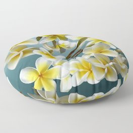 Plumeria on Blue Floor Pillow