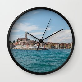 Boat trip Rovinj. View to the city. Wall Clock