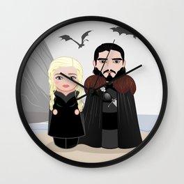 Cute couple kokeshis Wall Clock