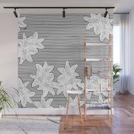 line art flowers on stripes Wall Mural