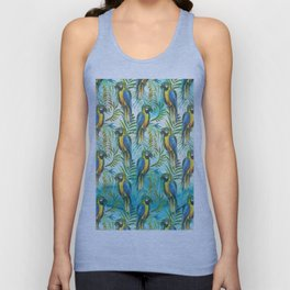 Watercolor blue yellow tropical parrot bird floral Unisex Tank Top