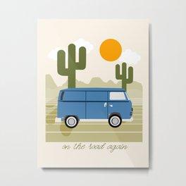 Van Life IV - desert van road tripping travel camping bus RV art Metal Print
