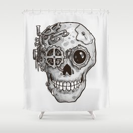 Steampunk Skull Shower Curtain
