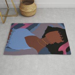 Black Woman with Short Hair, Blue Crop Top, Night Life, Abstract, UNFRAMED, Minimalist Print, Minimalist Poster Art Rug
