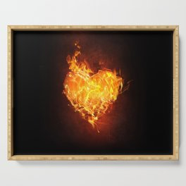 Fire Flame Burn Heart Love Serving Tray