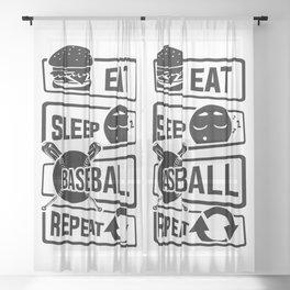 Eat Sleep Baseball Repeat - Home Run Strike Batter Sheer Curtain
