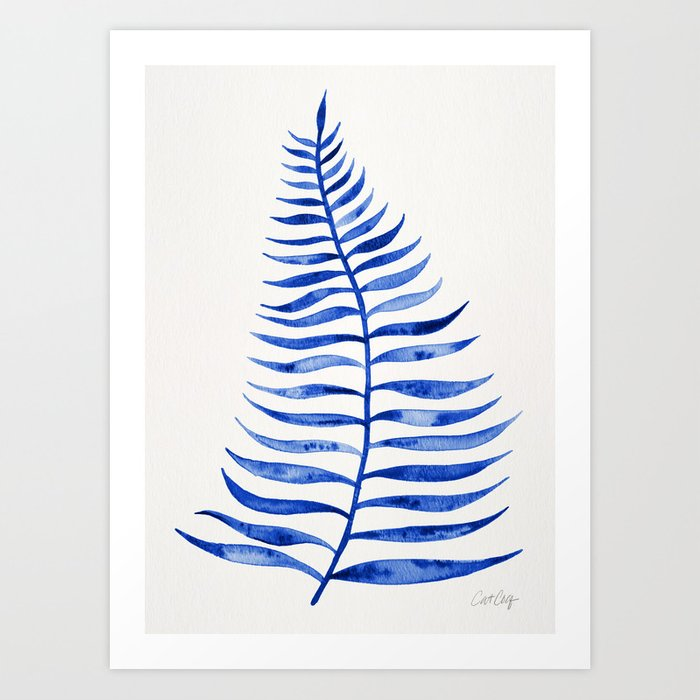 Navy Palm Leaf Art Print