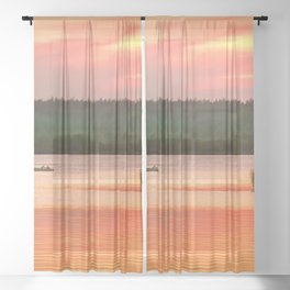 Summer sunset on Wild lake Sheer Curtain
