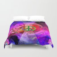 hologram Duvet Covers featuring BUDDHA by Riot Clothing