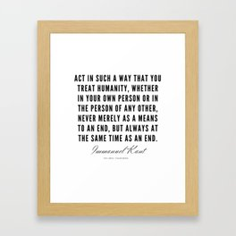 3  |  Immanuel Kant Quotes | 190810 Framed Art Print
