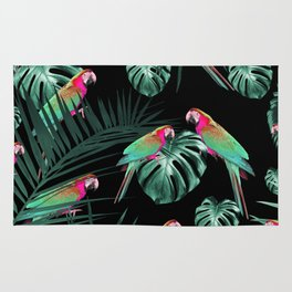 Parrots in the Tropical Jungle Night #1 #tropical #decor #art #society6 Rug