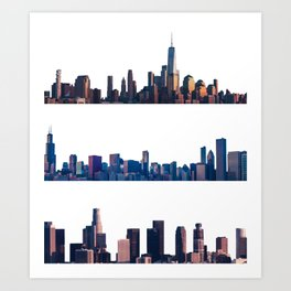 Chicago, New York, And Los Angeles City Skylines Art Print