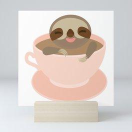 Sloth in a Pink cup coffee, tea, Three-toed sloth Mini Art Print