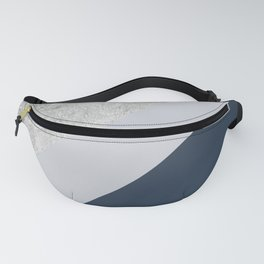 Modern minimalist navy blue grey and silver foil geometric color block Fanny Pack