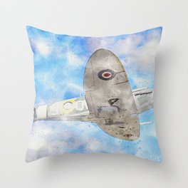 Mark Vb Spitfire in Flight Throw Pillow