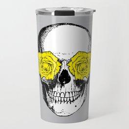 Skull and Roses | Grey and Yellow Travel Mug