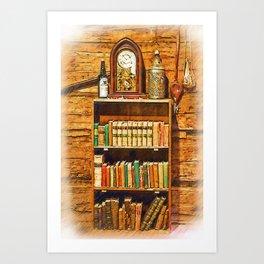 Log Cabin Bookcase Sketched Art Print