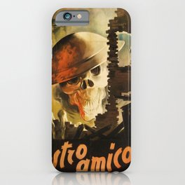 Vintage WWII Italian Skeleton Soldier in Bombed-out Ruins Poster iPhone Case