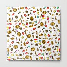 Fast Food Takeaway Cartoon Pattern Metal Print