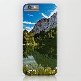 Hill pond and mountains painting woods nature forest camping wilderness hiking art home wall decor calm serene landscape field photography rural country side breathtaking outlook beautiful view iPhone Case