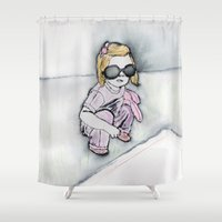 sunglasses Shower Curtains featuring sunglasses by Beth Gilmore