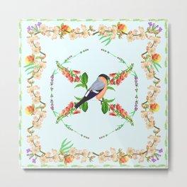 bird, fruit and flower botanical  Metal Print
